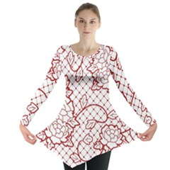 Transparent Decorative Lace With Roses Long Sleeve Tunic