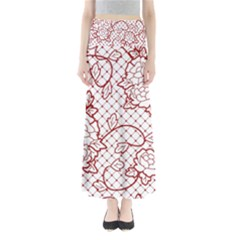 Transparent Decorative Lace With Roses Maxi Skirts