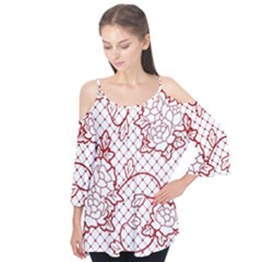 Transparent Decorative Lace With Roses Flutter Tees