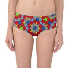 Penrose Tiling Mid-Waist Bikini Bottoms