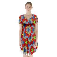 Penrose Tiling Short Sleeve V-neck Flare Dress