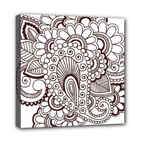 Henna Line Art Clipart Mini Canvas 8  X 8