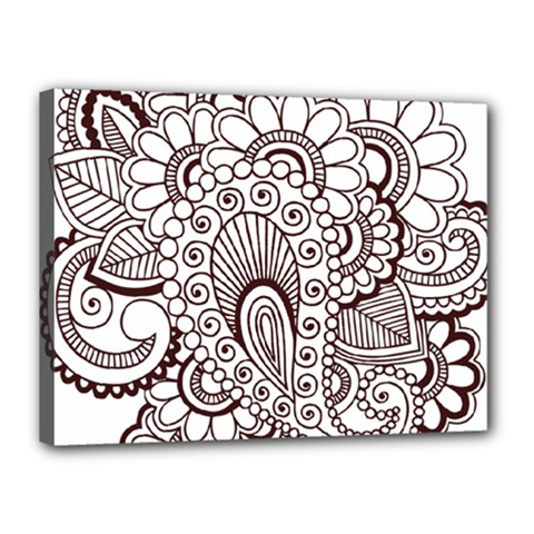 Henna Line Art Clipart Canvas 16  X 12