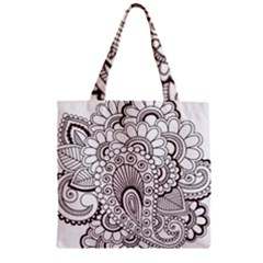 Henna Line Art Clipart Zipper Grocery Tote Bag
