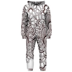 Henna Line Art Clipart Hooded Jumpsuit (ladies)