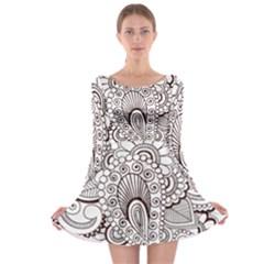 Henna Line Art Clipart Long Sleeve Skater Dress