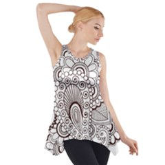 Henna Line Art Clipart Side Drop Tank Tunic