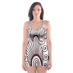 Henna Line Art Clipart Skater Dress Swimsuit