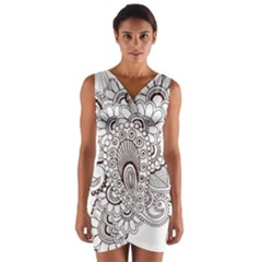 Henna Line Art Clipart Wrap Front Bodycon Dress