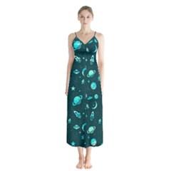 Space Pattern Chiffon Maxi Dress