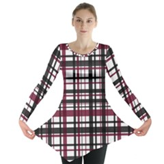 Plaid Pattern Long Sleeve Tunic