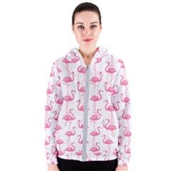 Pink Flamingos Pattern Women s Zipper Hoodie
