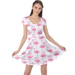 Pink Flamingos Pattern Cap Sleeve Dresses