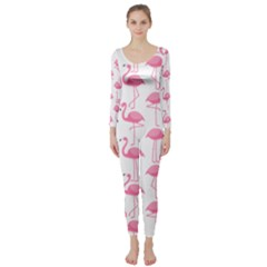 Pink Flamingos Pattern Long Sleeve Catsuit