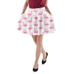 Pink Flamingos Pattern A-Line Pocket Skirt