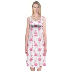 Pink Flamingos Pattern Midi Sleeveless Dress