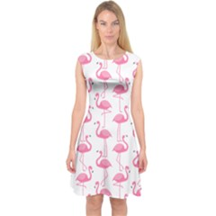 Pink Flamingos Pattern Capsleeve Midi Dress