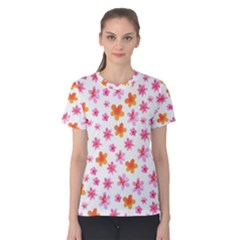 Watercolor Summer Flowers Pattern Women s Cotton Tee