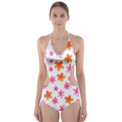 Watercolor Summer Flowers Pattern Cut-Out One Piece Swimsuit