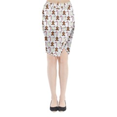 Christmas Trio Pattern Midi Wrap Pencil Skirt