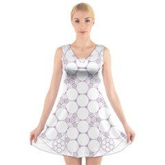 Density Multi Dimensional Gravity Analogy Fractal Circles V Neck Sleeveless Skater Dress
