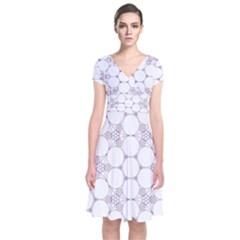 Density Multi Dimensional Gravity Analogy Fractal Circles Short Sleeve Front Wrap Dress