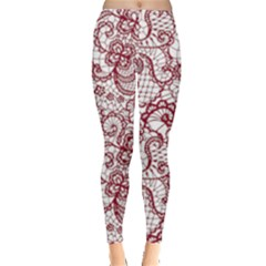 Transparent Lace With Flowers Decoration Leggings