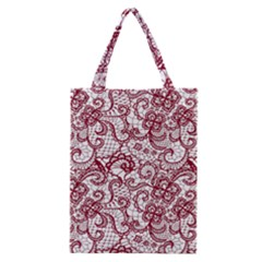 Transparent Lace With Flowers Decoration Classic Tote Bag