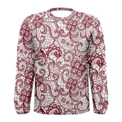 Transparent Lace With Flowers Decoration Men s Long Sleeve Tee