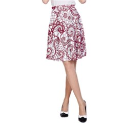 Transparent Lace With Flowers Decoration A Line Skirt
