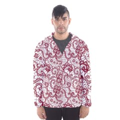 Transparent Lace With Flowers Decoration Hooded Wind Breaker (men)