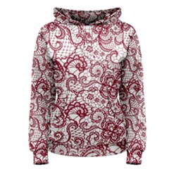Transparent Lace With Flowers Decoration Women s Pullover Hoodie