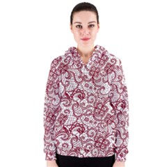 Transparent Lace With Flowers Decoration Women s Zipper Hoodie