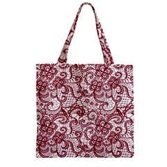Transparent Lace With Flowers Decoration Zipper Grocery Tote Bag