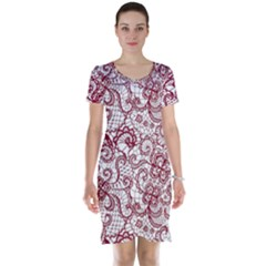 Transparent Lace With Flowers Decoration Short Sleeve Nightdress
