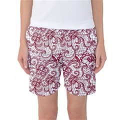 Transparent Lace With Flowers Decoration Women s Basketball Shorts