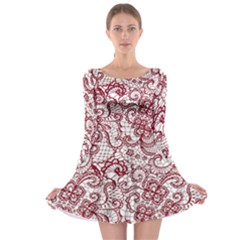 Transparent Lace With Flowers Decoration Long Sleeve Skater Dress