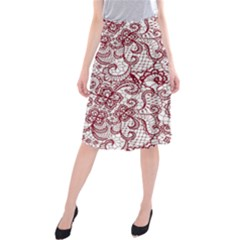 Transparent Lace With Flowers Decoration Midi Beach Skirt