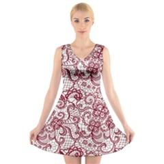 Transparent Lace With Flowers Decoration V Neck Sleeveless Skater Dress