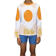 Egg Eating Chicken Omelette Food Kids  Long Sleeve Swimwear