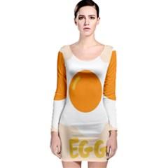 Egg Eating Chicken Omelette Food Long Sleeve Bodycon Dress