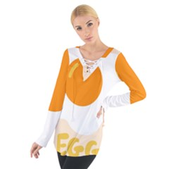 Egg Eating Chicken Omelette Food Women s Tie Up Tee