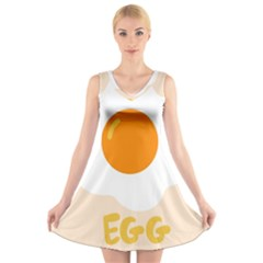 Egg Eating Chicken Omelette Food V Neck Sleeveless Skater Dress