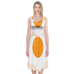 Egg Eating Chicken Omelette Food Midi Sleeveless Dress