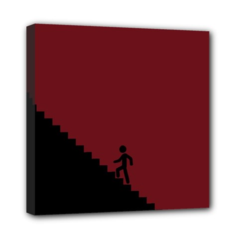 Walking Stairs Steps Person Step Mini Canvas 8  X 8