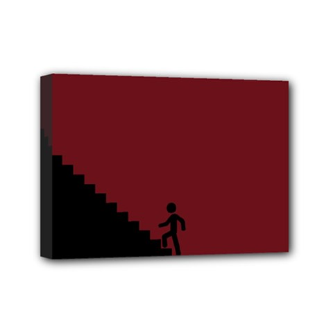 Walking Stairs Steps Person Step Mini Canvas 7  x 5
