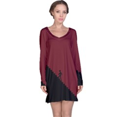 Walking Stairs Steps Person Step Long Sleeve Nightdress