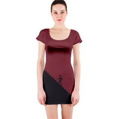 Walking Stairs Steps Person Step Short Sleeve Bodycon Dress