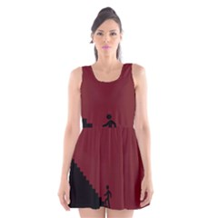 Walking Stairs Steps Person Step Scoop Neck Skater Dress