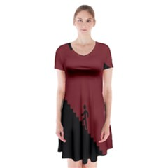 Walking Stairs Steps Person Step Short Sleeve V-neck Flare Dress